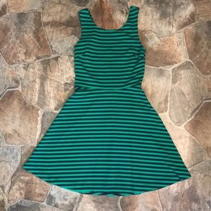 Green and Navy Striped Dress